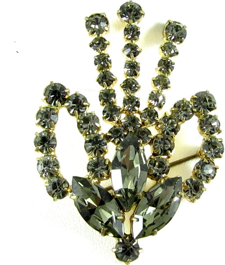 Vintage Black Diamond Rhinestone Brooch Pin