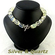 SALE Vintage Sterling Silver Toggle Quartz Beads Choker Necklace