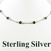 SALE Vintage Sterling Silver Linked Necklace with Green Stones