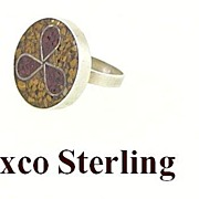 SALE Sterling Silver Taxco Mexico Mosaic Ring Size 6