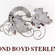 SALE Modernist Bond Boyd Sterling Silver Leaves Brooch