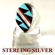 SALE Zuni Sterling Silver Ring & Inlay of Turquoise, Coral, Onyx and MOP Size 10.5