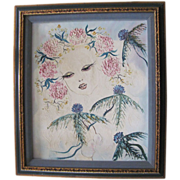 SALE Lovely Vintage Mixed Media Painting By French Artist Beauchesne