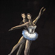 SALE Superb Vintage Painting on Velvet of a Couple Ballet Dancing
