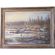 SALE Beautiful Vintage Large Oil Painting of Herons 1940
