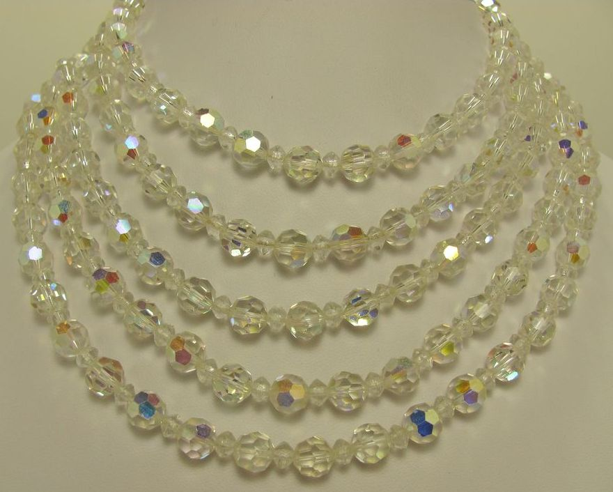 Dazzling Vintage Five Strands Of Aurora Borealis Necklace & Earrings