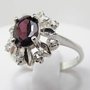 SALE Superb Vintage Silver Sterling Ring With Zircon Size 9