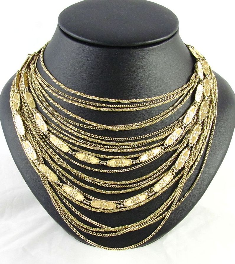 Grosse Germany 1960 Large Bib Necklace Gold-Tone