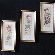 SALE Three Fantastic Floral and Butterflies Block Print
