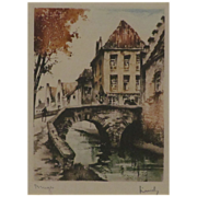 SALE Wonderful Etching of Bruges signed by the Artist