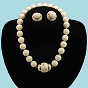 SOLD Vintage Ultimate 14K Mediterranean Pure White Coral & Diamonds Necklace Earring Set
