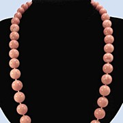 SOLD 1960's Rare 14K Italian Pink Coral Large Bead Necklace
