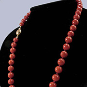 SALE PENDING 1940's 18K Sardinian Oxblood Red  Coral Bead 8.5-9.3mm Necklace
