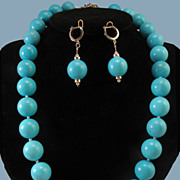 SALE PENDING Grand Persian Turquoise Large Bead Necklace w/14K WG Sapphire & Diamond Clasp