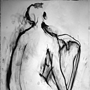 Original Female Nude Charcoal Drawing Julia Trops