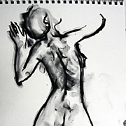 Original Charcoal Drawing Minimalist Line Female Nude Julia Trops