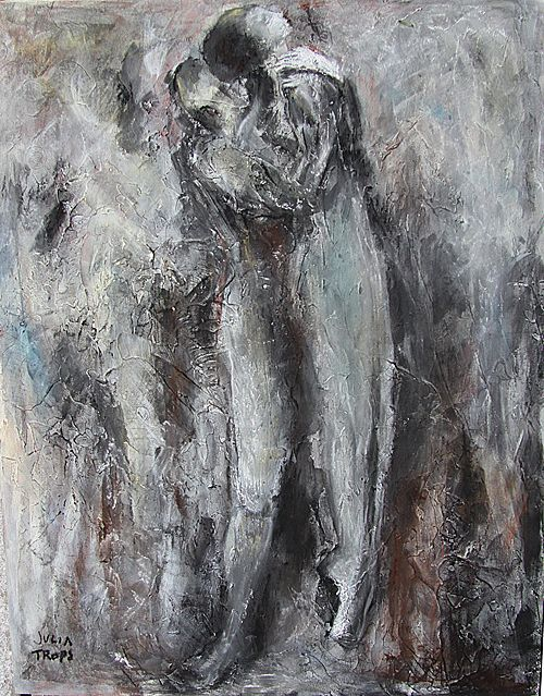 Charcoal Painting Drawing Original Mixed Media Dance Abstract Art Julia Trops