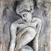 Female Nude Mixed Media Charcoal Drawing Acrylic Painting Julia Trops