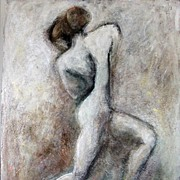Charcoal Drawing Mixed Media Painting Original Abstract Female Nude Dancer