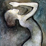 Female Dancer Mother Earth Charcoal Drawing Mixed Media Painting Original
