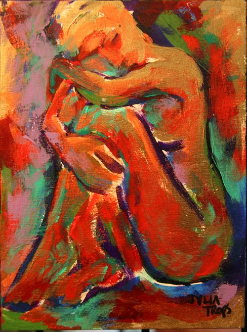 Female Seated Nude Dramatic Original Acrylic Painting Abstract Art Julia Trops