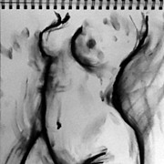 Original Charcoal Drawing Female Nude Canadian Artist Julia Trops