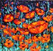 Poppies Vibrant Reds 24&quot; x 24&quot; Acrylic Textured Painting