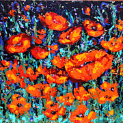 "Poppies Vibrant Reds 24"" x 24"" Acrylic Textured Painting"