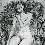 HUGE 50x38 Charcoal Abstract Art Female Nude Seated Sunflowers