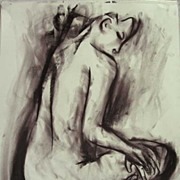 Charcoal Female Nude Dancer Back Canadian Drawing Abstract Expressionist Art