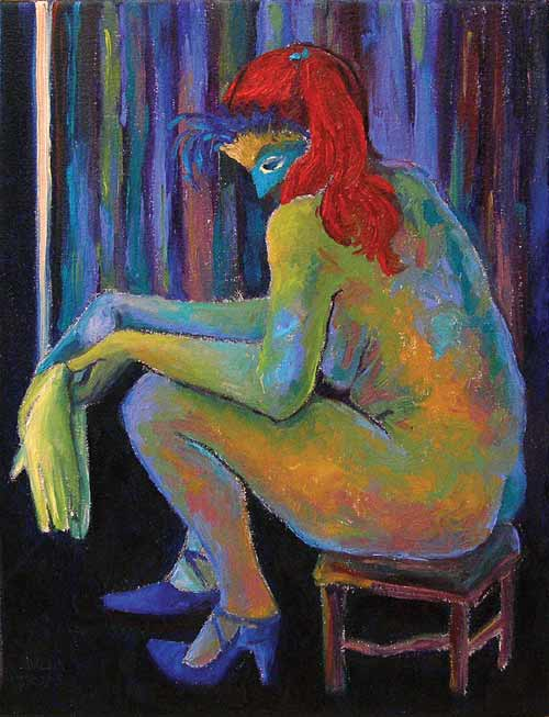 Mask Gloves Shoes Girl Closet Red Hair Expressionist Oil Painting Nude Female