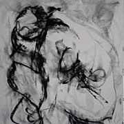 Female Nude Charcoal Drawing Large Abstract Art