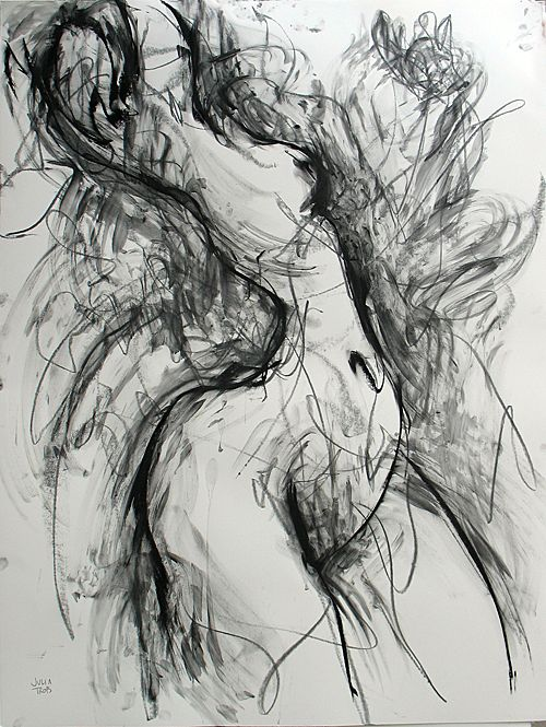Huge Charcoal Pastel Graphite Original Drawing Female Julia Trops Canadian Artist
