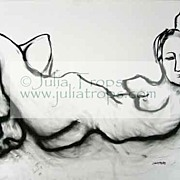 Female Reclining Nude Huge 30x22 Charcoal Line Drawing Canadian