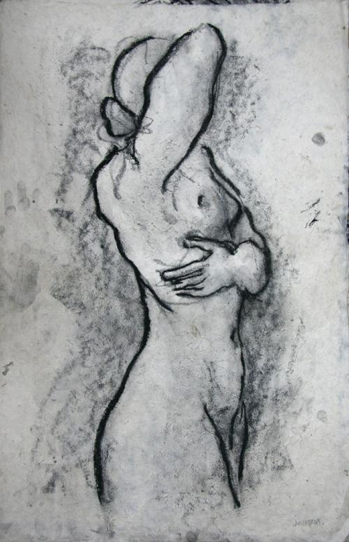 Huge Minimalist Dramatic Female Charcoal Graphite Figure Drawing Standing Canadian Trops