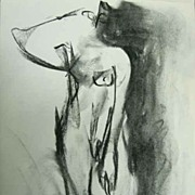 Edge of Consciousness Willow Dancer Female Nude Charcoal Expressionist Drawing Canadian