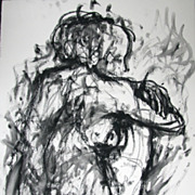 Charcoal Drawing Watercolor Female Seated Nude Julia Trops