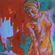 Wonderful Female Nude Earthy Expression Original Acrylic Painting Veil
