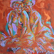 Mardi Gras Two Seated Female Nudes Earthy Colours Flowers Original Painting