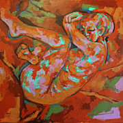 Rock Seated Female Nude Earthy Expression Original Acrylic Painting