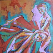 Weaver of Time Female Dancer Acrylic Magic Painting Earthy Expressionist Trops