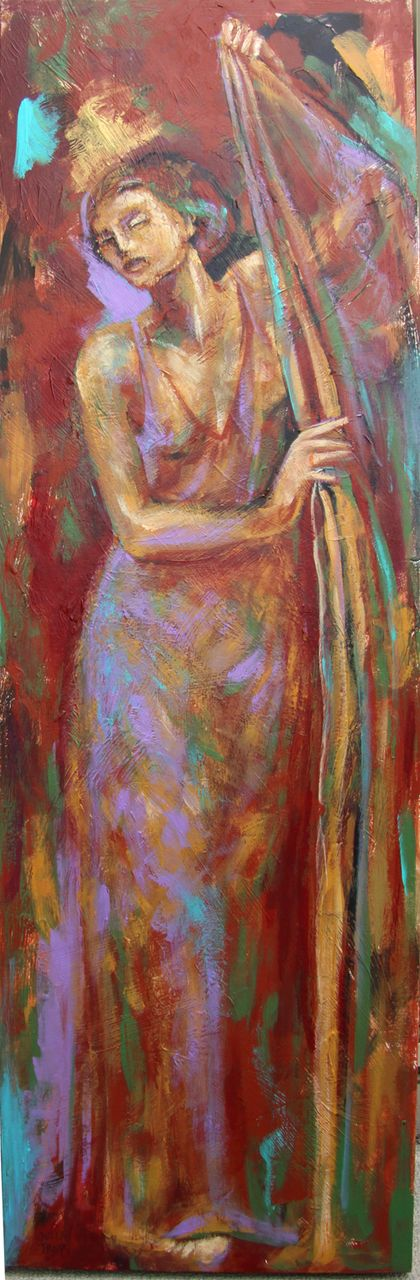 Female Dancer Acrylic Painting Earthy Expressionist Trops