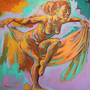 Female Dancer Acrylic Willow Tree Magic Painting Earthy Expressionist Trops