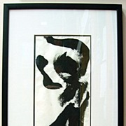 Ink Painting Framed Drawing Primitive Minimalist Original Julia Trops