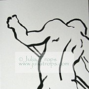 Minimalist Male Nude Dancer India Ink Painting Drawing