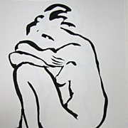 Minimalist Abstracted Female Nude Seated India Ink Canadian