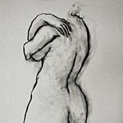 Minimalist Charcoal Line Drawing Female Nude Back Abstract Art Julia Trops