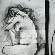 "Huge 50""x38"" Charcoal Pencil Drawing Dramatic Canadian Female Nude"