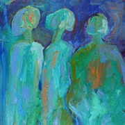 Three Graces Guardians Female Oil Painting Expressionist Abstract Art Canadian Artist Julia Tr