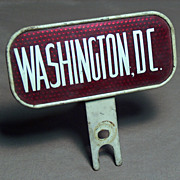 1935 &quot;Washington, DC&quot; Reflector License Plate Topper